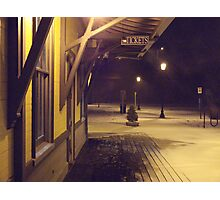 A Quiet And Cold Snow In The Glow of Kingston RR Station *featured Photographic Print
