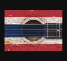 Old Vintage Acoustic Guitar with Thai Flag Kids Clothes