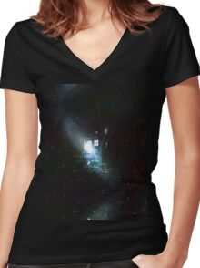 doctor who - tardis & galaxy Women's Fitted V-Neck T-Shirt