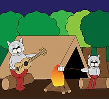 Cats Camping by ValeriesGallery