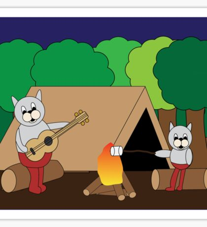 Cats Camping Sticker