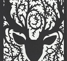 Deer With Vine Antlers papercut print by amoeba-b