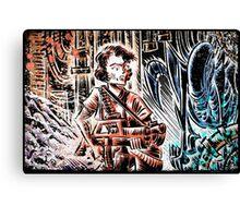 Ripley and the Alien Art Print. Aliens, Sigourney Weaver, Joe Badon, Ridley Scott, James Cameron, Drawing, illustration, sci fi, horror Canvas Print
