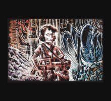 Ripley and the Alien Art Print. Aliens, Sigourney Weaver, Joe Badon, Ridley Scott, James Cameron, Drawing, illustration, sci fi, horror T-Shirt