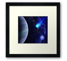 Photorealistic Galaxy background with planet  Framed Print