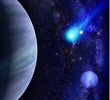 Photorealistic Galaxy background with planet  Photographic Print
