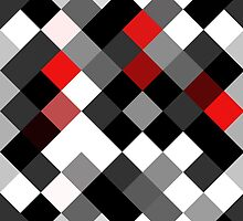 Bold Block Black White Red Diagonal Pattern by Ra12