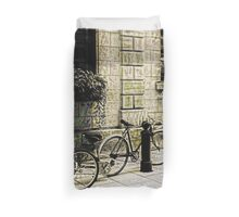 Tandem Bicycle and Flowers Duvet Cover