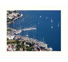 Skiathos port, aerial view Art Print
