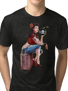 SheVibe Bomb Girl Cover Art Tri-blend T-Shirt