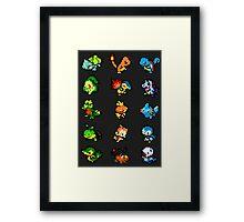 Pixel Pokemon Starters Framed Print