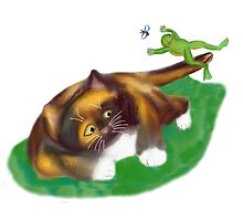 Frog Leaps over Kitten's Tail by NineLivesStudio