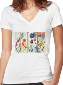 Birds with flowers Women's Fitted V-Neck T-Shirt