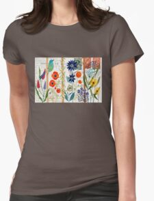 Birds with flowers Womens Fitted T-Shirt