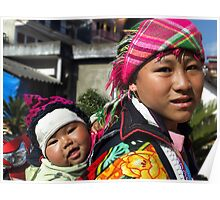 Hilltribe mother  - Sapa, north Vietnam Poster
