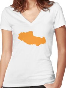Tibet map Women's Fitted V-Neck T-Shirt