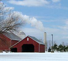 Barn & Smokestack by Valeria Lee