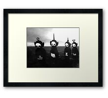 Teletubbies go to hell (black and white noir) Framed Print