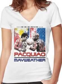 Pacquiao Mayweather shirt Women's Fitted V-Neck T-Shirt