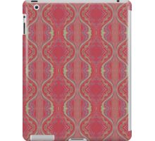 metallic blue and green squiggles on red iPad Case/Skin