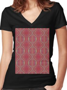 metallic blue and green squiggles on red Women's Fitted V-Neck T-Shirt