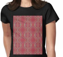 metallic blue and green squiggles on red Womens Fitted T-Shirt