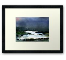 Icy white waters in forest black onyx mountains Framed Print