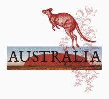 Australia Ayers Rock & Kangaroo by Zehda