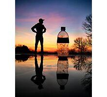 Man vs. Water Bottle Photographic Print