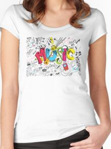 Music Instruments Collage Women's Fitted Scoop T-Shirt