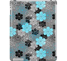 Flower Rain Hawaiian Retro Floral - Gray, Turquoise and Black iPad Case/Skin