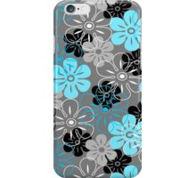 Flower Rain Hawaiian Retro Floral - Gray, Turquoise and Black iPhone Case/Skin