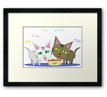 Happy Cats Eating Framed Print