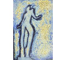 """""""Girl dancing in swirling blues and yellows"""" an analog darkoom photographic print / painting Photographic Print"""