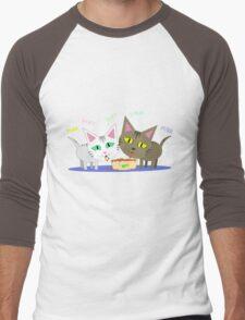Happy Cats Eating T-Shirt Men's Baseball ¾ T-Shirt