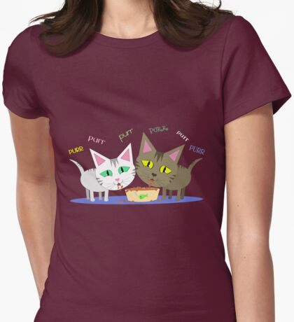 Happy Cats Eating T-Shirt Womens Fitted T-Shirt