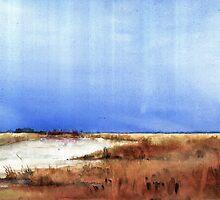 Vertical stripes over grassy landscape by zawij