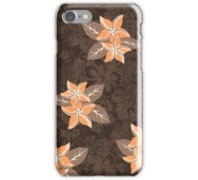 Honolua Plumeria Hawaiian Tropical Print - Brown and Papaya iPhone Case/Skin