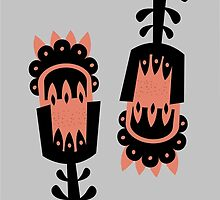 Giant Peach and Black vector flowers by juliechicago