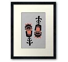 Giant Peach and Black vector flowers Framed Print