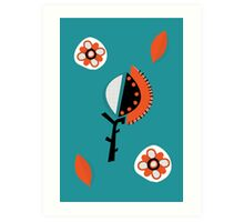 Orange & Turquoise abstract flowers Art Print