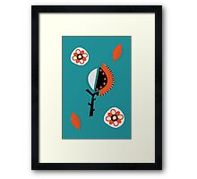 Orange & Turquoise abstract flowers Framed Print