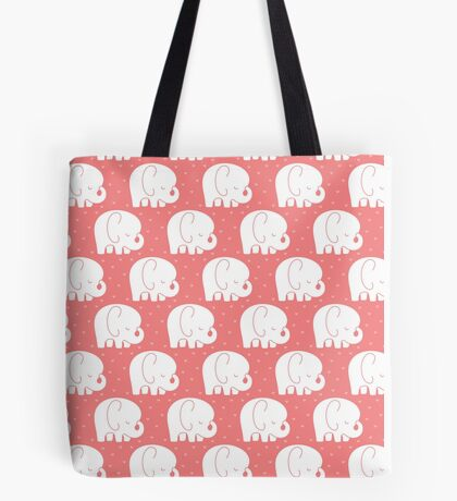 mod baby elephants coral Tote Bag