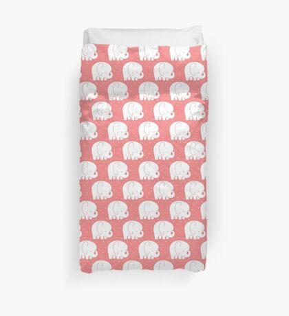 mod baby elephants coral Duvet Cover