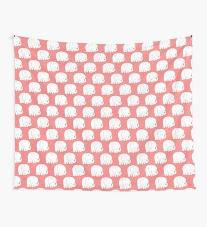 mod baby elephants coral Wall Tapestry