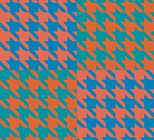 Checkered Houndstooth Teal and Orange by Kelsey Peet