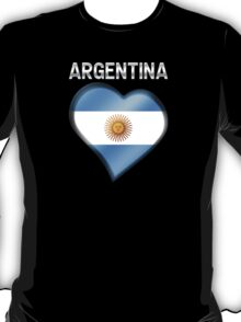 Argentina - Argentine Flag Heart & Text - Metallic T-Shirt
