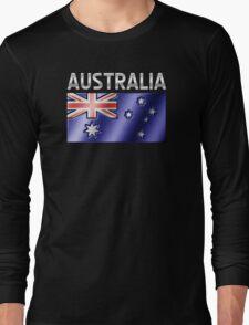 Australia - Australian Flag & Text - Metallic Long Sleeve T-Shirt