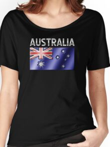 Australia - Australian Flag & Text - Metallic Women's Relaxed Fit T-Shirt