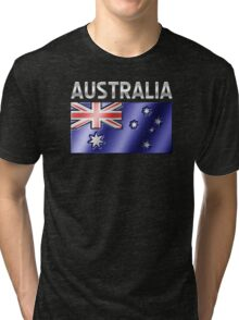 Australia - Australian Flag & Text - Metallic Tri-blend T-Shirt